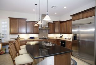 Modern Kitchen with wall oven, kitchen faucet pull-down style, partial backsplash, High ceiling, electric range, Wall Hood