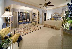Eclectic Guest Bedroom with Ceiling fan, Crown molding, Built-in bookshelf, Window seat, Carpet, Wainscotting, Chandelier