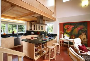 Modern Kitchen with partial backsplash, Undermount sink, Island Hood, Wall sconce, electric cooktop, Exposed beam, U-shaped