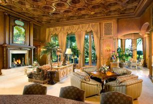 Traditional Living Room with French doors, Box ceiling, High ceiling, travertine floors