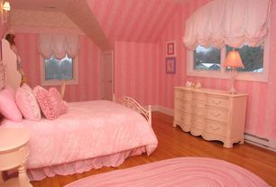 Country Kids Bedroom with High ceiling, Hardwood floors, Wall sconce, Laminate floors