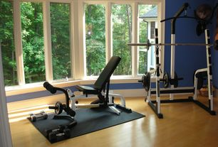 Traditional Home Gym with Crown molding, Hardwood floors