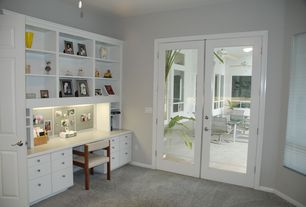 Contemporary Home Office with French doors, Carpet, Paint, can lights, six panel door, Standard height, Casement, Ceiling fan