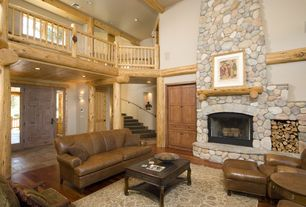 Rustic Living Room with Franklin Austin Loveseat, specialty door, simple marble floors, Alpine River Rock, Carpet, can lights