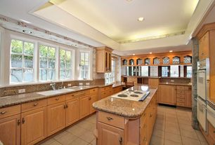 Craftsman Kitchen with interior wallpaper, Kitchen island, Simple Granite, Raised panel, U-shaped, Simple granite counters