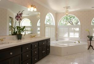 Traditional Full Bathroom with large ceramic tile counters, wall-mounted above mirror bathroom light, Raised panel, Paint 1