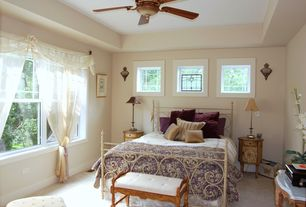 Eclectic Guest Bedroom with Stained glass window, Wall sconce, Carpet, flush light, Ceiling fan