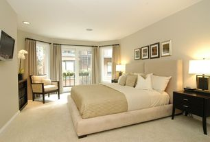 Contemporary Master Bedroom with Carpet, French doors, High ceiling, Casana furniture company beckett 2 drawer nightstand