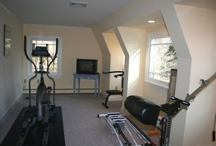 Traditional Home Gym with specialty window, can lights, Standard height, Carpet, double-hung window