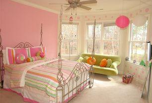 Modern Kids Bedroom with Carpet, Crown molding, My world annas ruffle quilt set, Ceiling fan, interior wallpaper