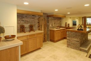 Craftsman Bar with Flat panel cabinets, U-shaped, Inset cabinets, specialty door, Stone Tile, Formica counters