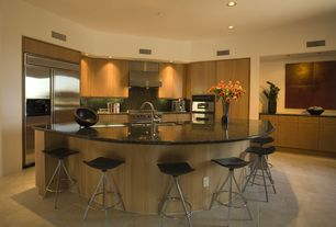 Contemporary Kitchen with double wall oven, High ceiling, Flush, Wall Hood, Undermount sink, Simple granite counters