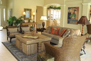 Tropical Living Room with Oriental Furniture Rush Grass Coffee Table Set with 4 Stools, Natural, High ceiling