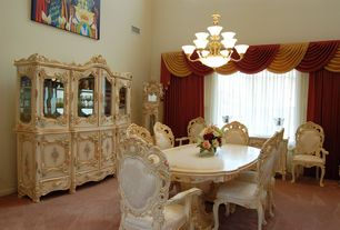 Traditional Dining Room with High ceiling, Carpet, Casement, Chandelier