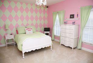 Modern Kids Bedroom with Chandelier, Feiss Chateau Blanc 4 Light Mini Chandelier, Mural, Carpet