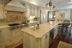 Traditional Kitchen with Complex marble counters, One-wall, Large Ceramic Tile, Hardwood floors, Custom hood, High ceiling