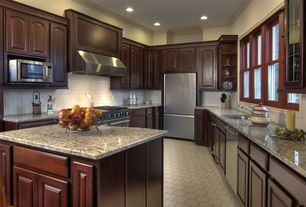 Traditional Kitchen with Large Ceramic Tile, Undermount sink, Crown molding, Standard height, U-shaped, Wall Hood, can lights