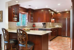 Traditional Kitchen with Built In Panel Ready Refrigerator, Galley, Standard height, Undermount sink, Glass panel, can lights