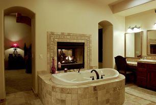 "Mediterranean Full Bathroom with stone tile floors, 4"" travertine tile, Slate tile counters, 70 in drop -in soaking bathtub"