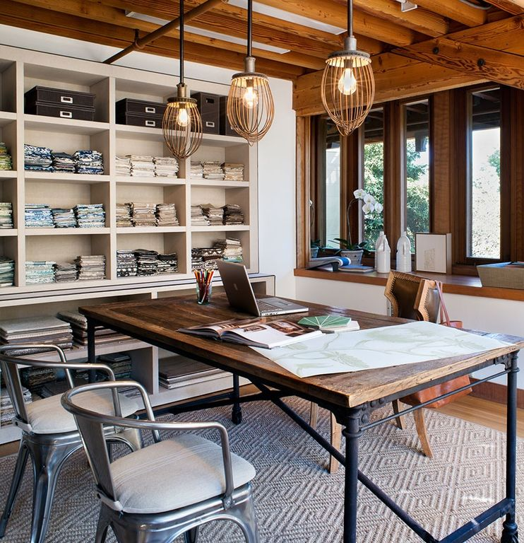 Contemporary Home Office with Restoration hardware flatiron rectangular dining table, Restoration hardware marcel armchair