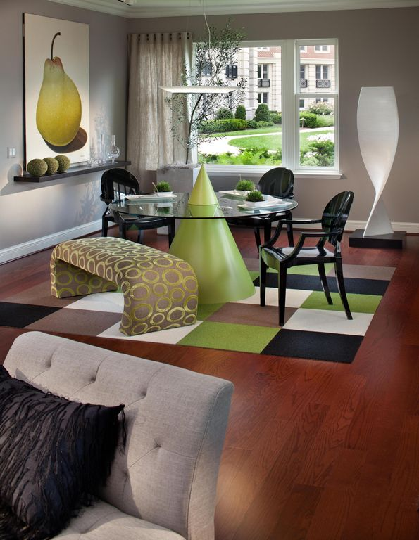 Contemporary Dining Room with Standard height, double-hung window, picture window, Pendant light, flush light, Crown molding