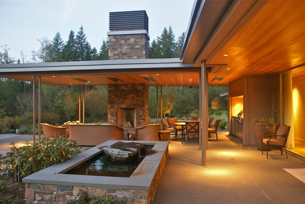 Contemporary Patio with Outdoor furniture, Ceiling panels, Outdoor fireplace