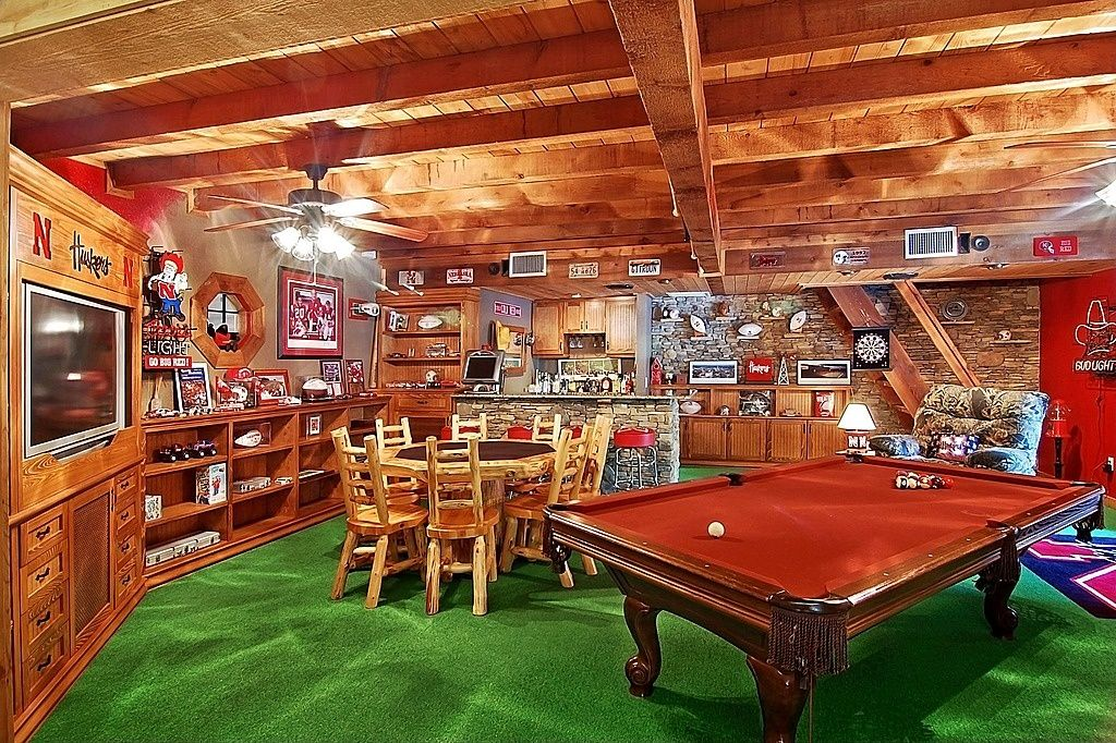 Rustic Game Room With Carpet Floor amp Exposed Beam Zillow