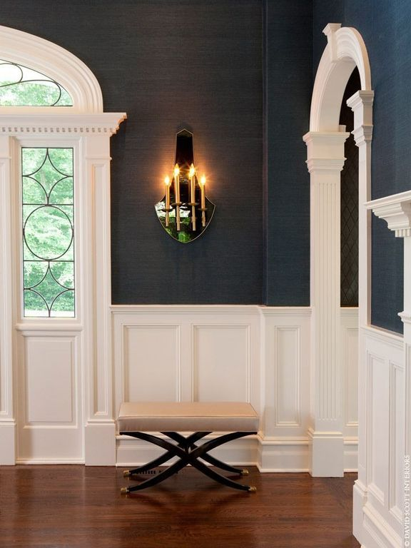 Traditional Hallway with Paint, Hardwood floors, Chair rail, Transom window, Wainscotting, picture window, Wall sconce