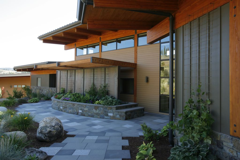 Modern Landscape/Yard with exterior concrete tile floors, Pathway, French doors, exterior tile floors, Transom window