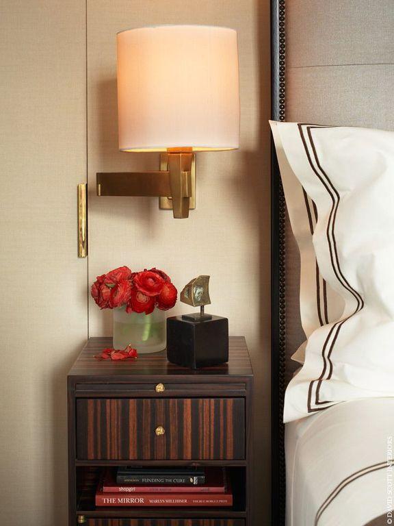 Contemporary Master Bedroom with Restoration Hardware Masion Panel Bed, Derring Hall Villa Bedside Table - Macassar