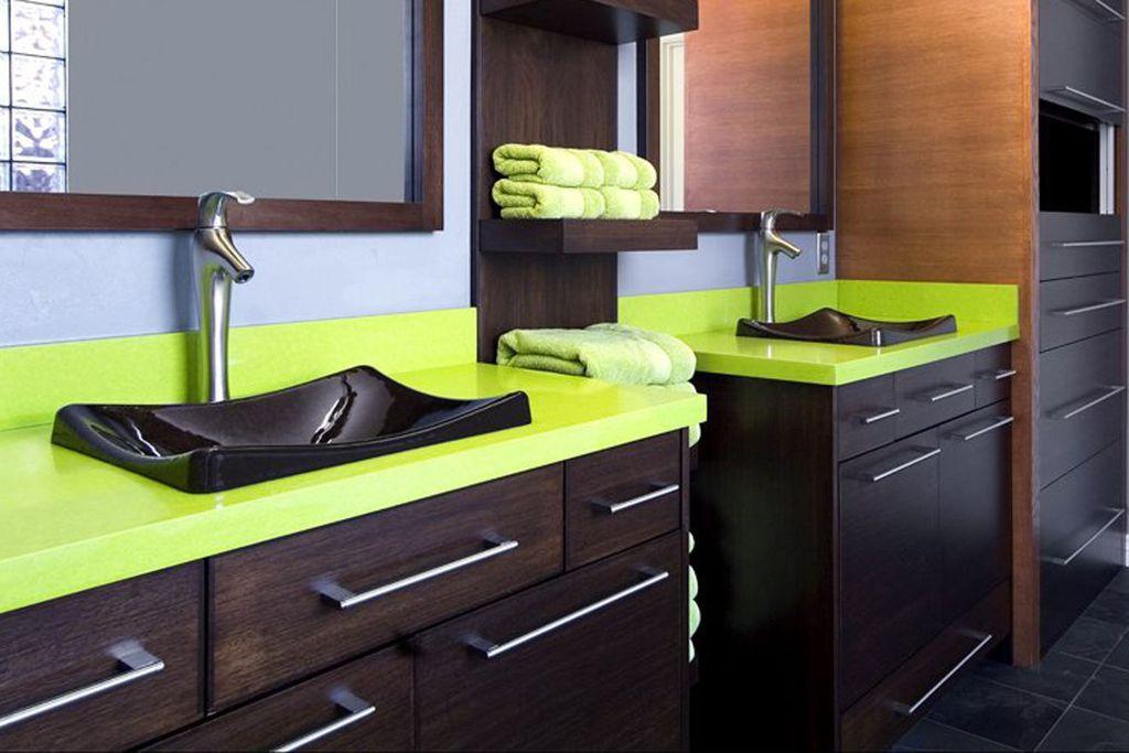 Contemporary Master Bathroom with Caesarstone apple martini countertops, Paint