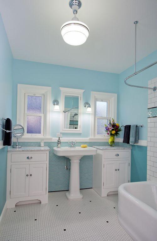 Cottage Full Bathroom with Master bathroom, Rejuvenation rose city classic schoolhouse pendant, Pedestal sink, Casement