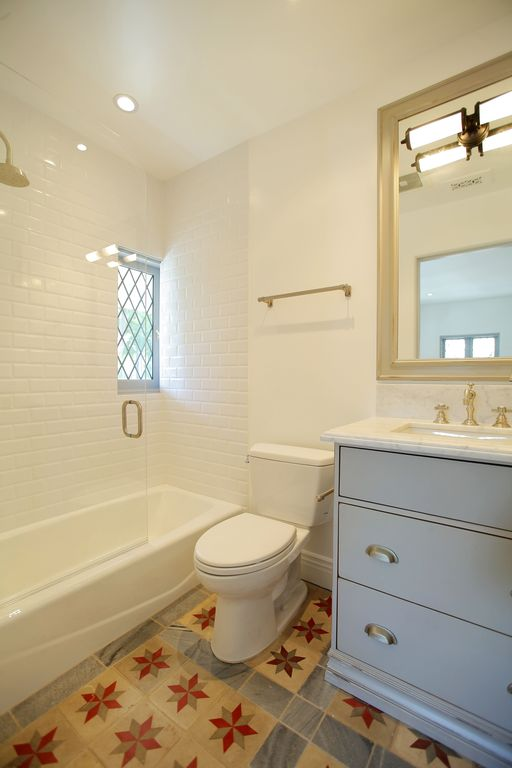 Traditional Full Bathroom with wall-mounted above mirror bathroom light, Full Bath, Simple Marble, Inset cabinets, can lights