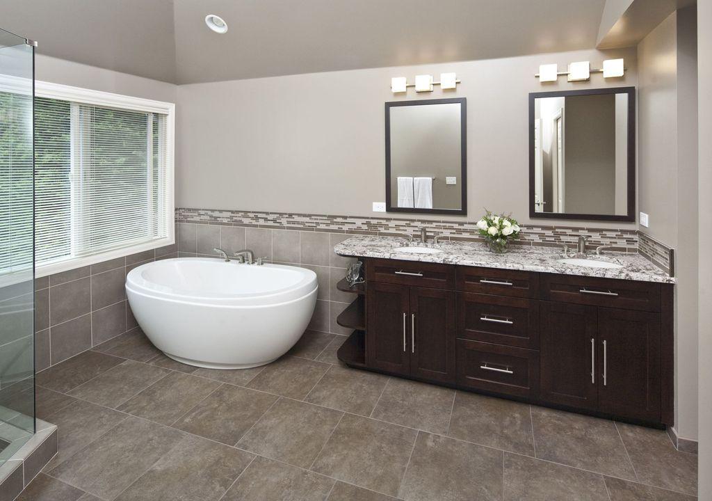 Contemporary Master Bathroom with Casement, Master bathroom, Complex marble counters, Shower, frameless showerdoor, Flush