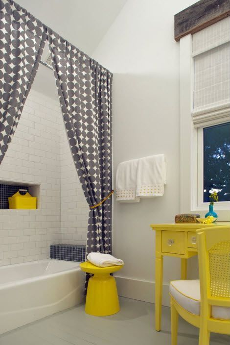 Contemporary Full Bathroom with Shower, Casement, The loft - martini table yellow, Kids bathroom, shower bath combo