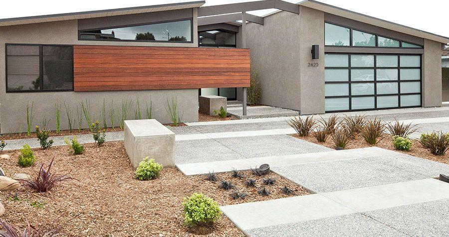 Contemporary Exterior of Home with Paint 1, Concrete floors