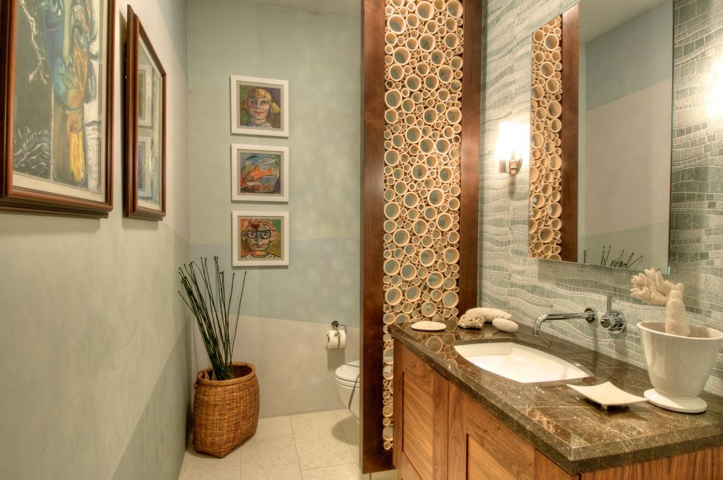 Contemporary Powder Room with Wall Tiles, Allure Kelp Glass and Marble Tile, pental gris pulpis polished marble, Wall sconce