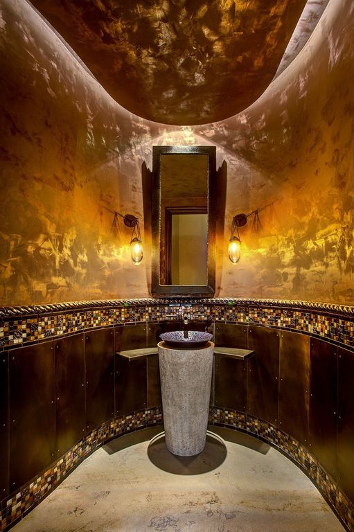 Mediterranean Powder Room with Wall sconce, Wall Tiles, complex marble floors, Powder room, Standard height, Vessel sink