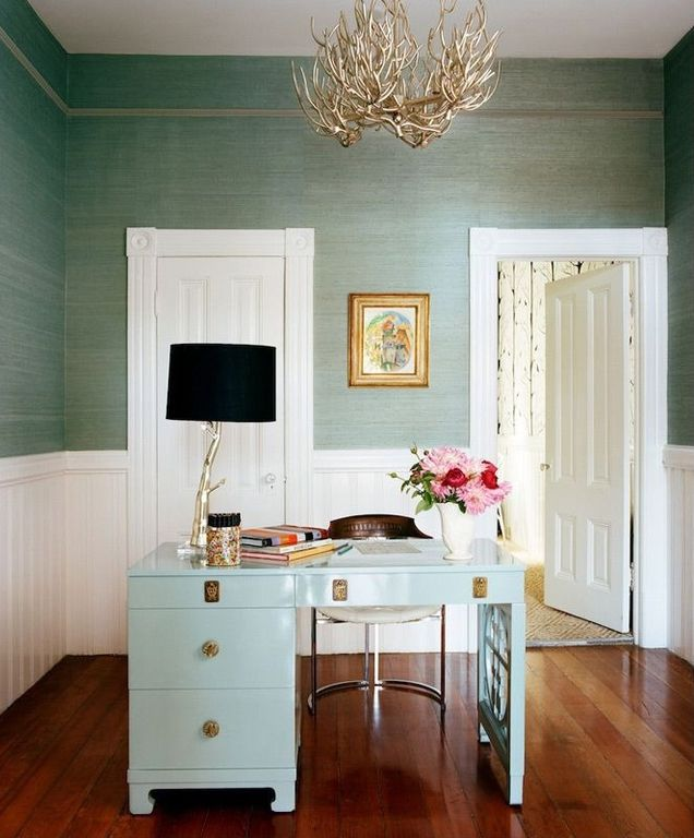 Contemporary Home Office with Chandelier, White spur desk, Hardwood floors, Naturally superior twig chandelier, Wainscotting