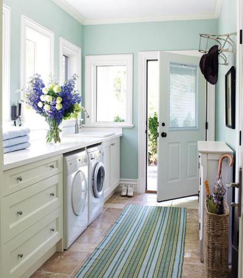 Country Laundry Room with Casement, Paint, Whirlpool front loading washer, Striped runner rug, Ceiling molding, Paint 2