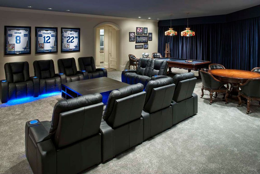 Modern Game Room With Carpet Tiffany Style Pendant Light Framed