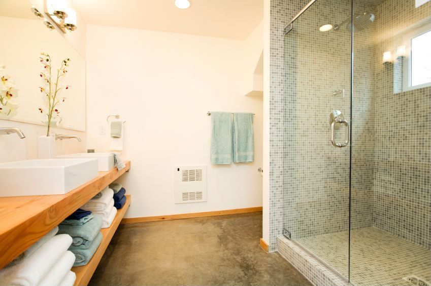 Contemporary Master Bathroom with Double sink, picture window, three quarter bath, Vessel sink, Wood counters, can lights