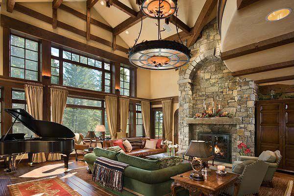 Craftsman Living Room with Paint, Double height living room, Exposed beam ceiling, Bronze chandelier, Hardwood floors