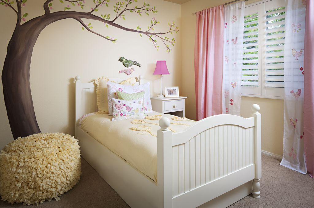 Traditional Kids Bedroom with Casement, Pottery barn kids - sherpa anywhere beanbag, Carpet, Standard height, Mural, Paint