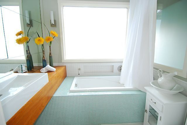 Contemporary Full Bathroom with picture window, Paint, Carrara White 3/8x3/8 Square Mosaic Tile Honed - Marble from Italy