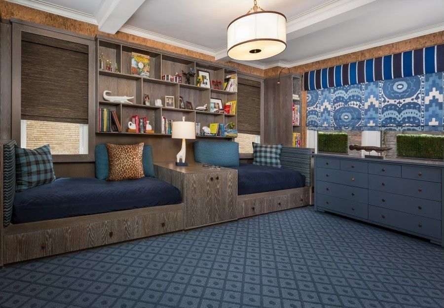 Contemporary Kids Bedroom with Jonathan adler giraffe table lamp, Ikea hemnes blue, Savoy house grove semi-flush, Carpet