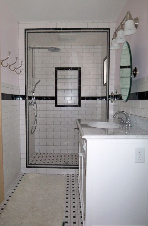 """Traditional 3/4 Bathroom with Possini - darcy etched glass 22"""" wide polished nickel bath light, Shower, Wall Tiles, Paint"""