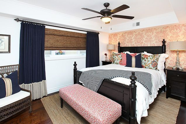 Contemporary Guest Bedroom with flush light, Standard height, Hardwood floors, interior wallpaper, specialty window