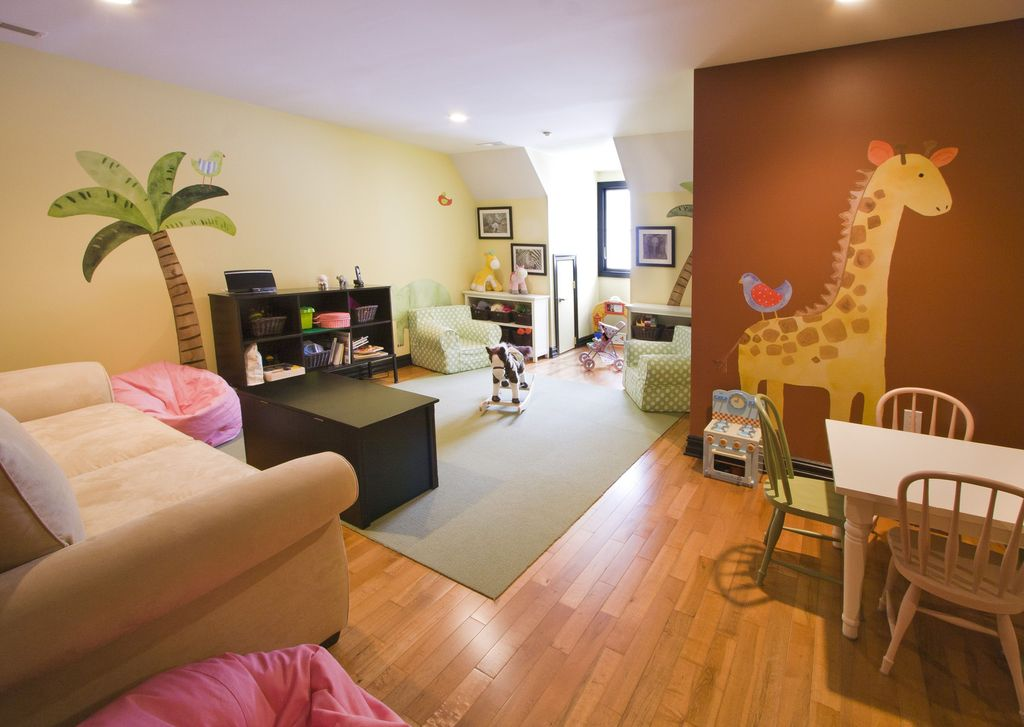 Modern Playroom with Dormer window, Teamson kids enchanted forest kitchen stove, can lights, Casement, Mural, Paint 2