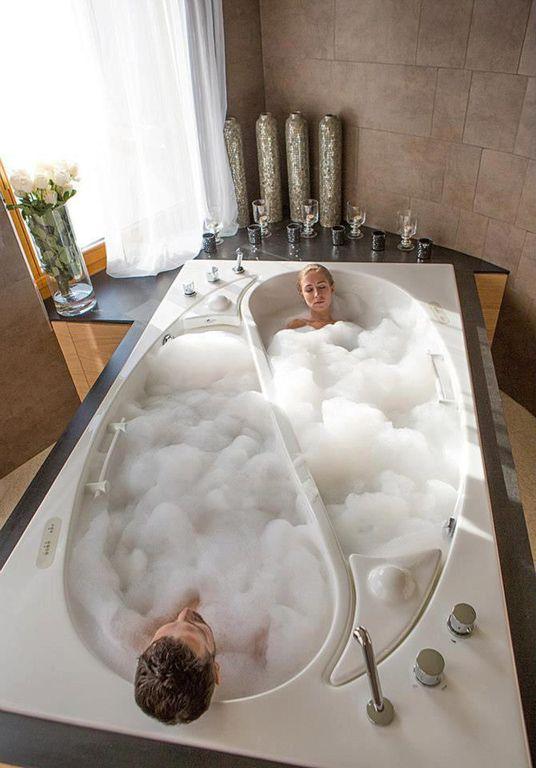 Contemporary Master Bathroom with Yin yang couples bath, Bathtub